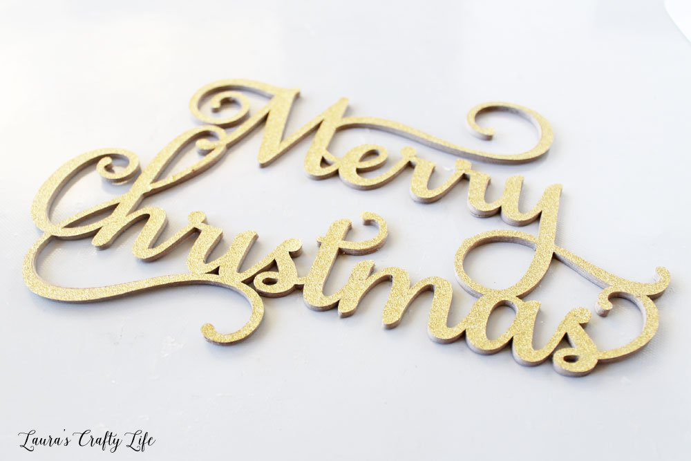Chipboard Merry Christmas made with Cricut knife blade