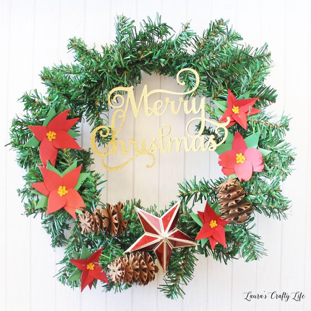 Christmas wreath made with the Cricut Maker machine
