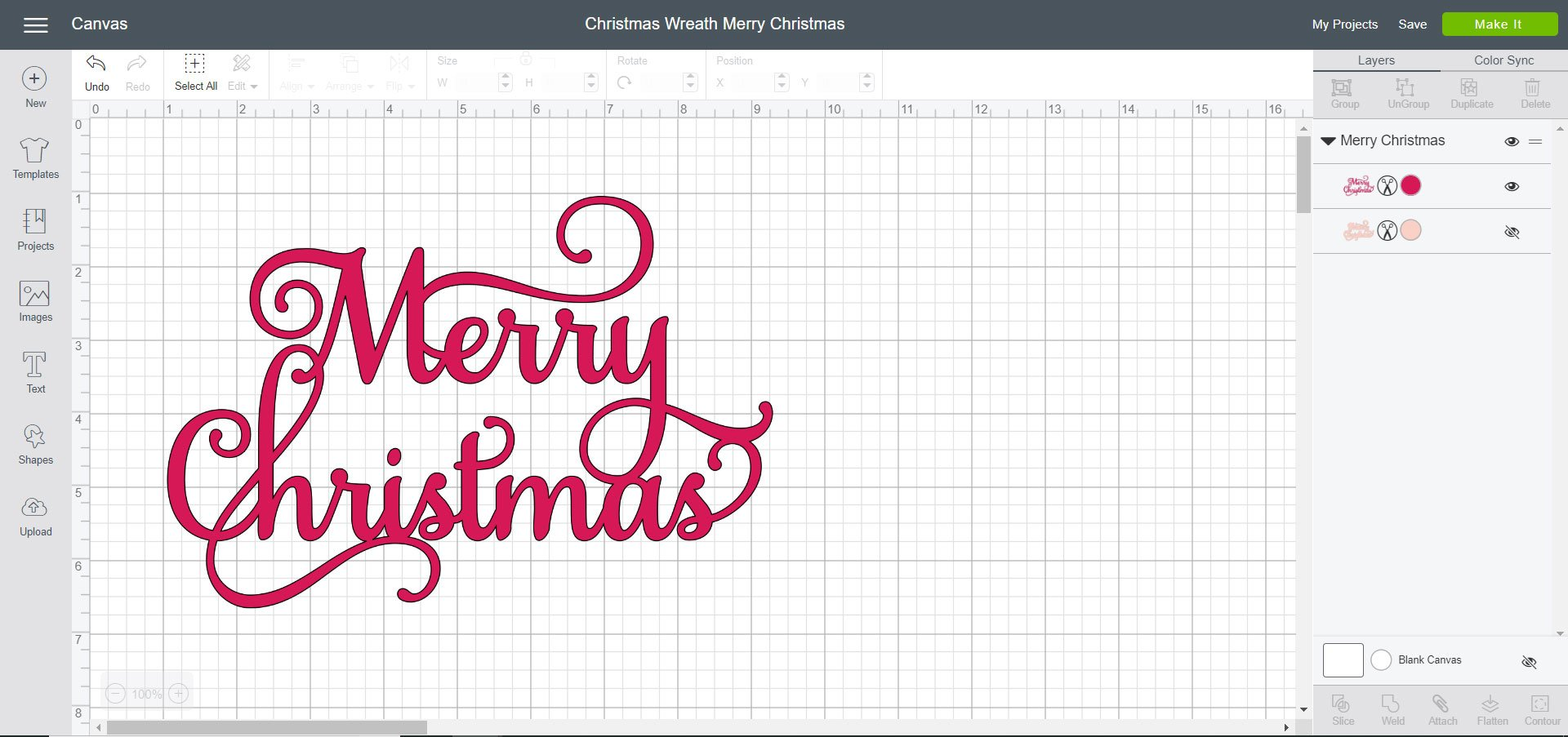Cricut Design Space File - Christmas Wreath Merry Christmas
