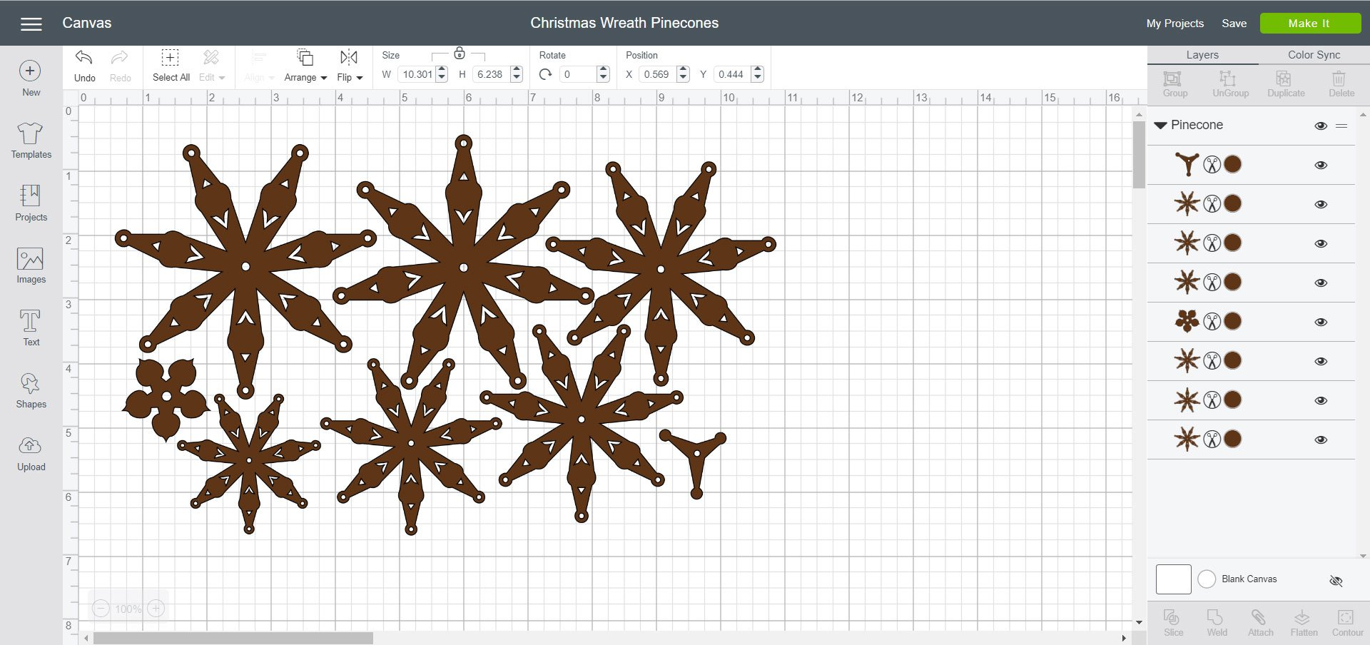 Cricut Design Space File - Christmas Wreath Pinecones