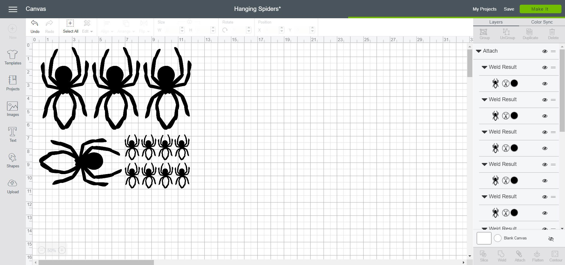 Cricut Design Space - Hanging Spiders