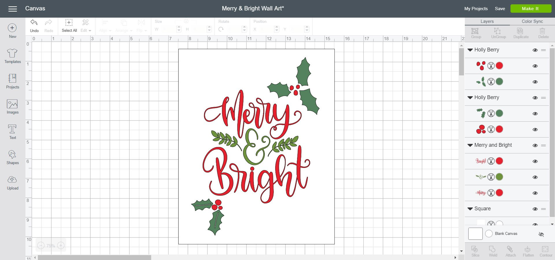 Cricut Design Space - Merry and Bright Wall Art