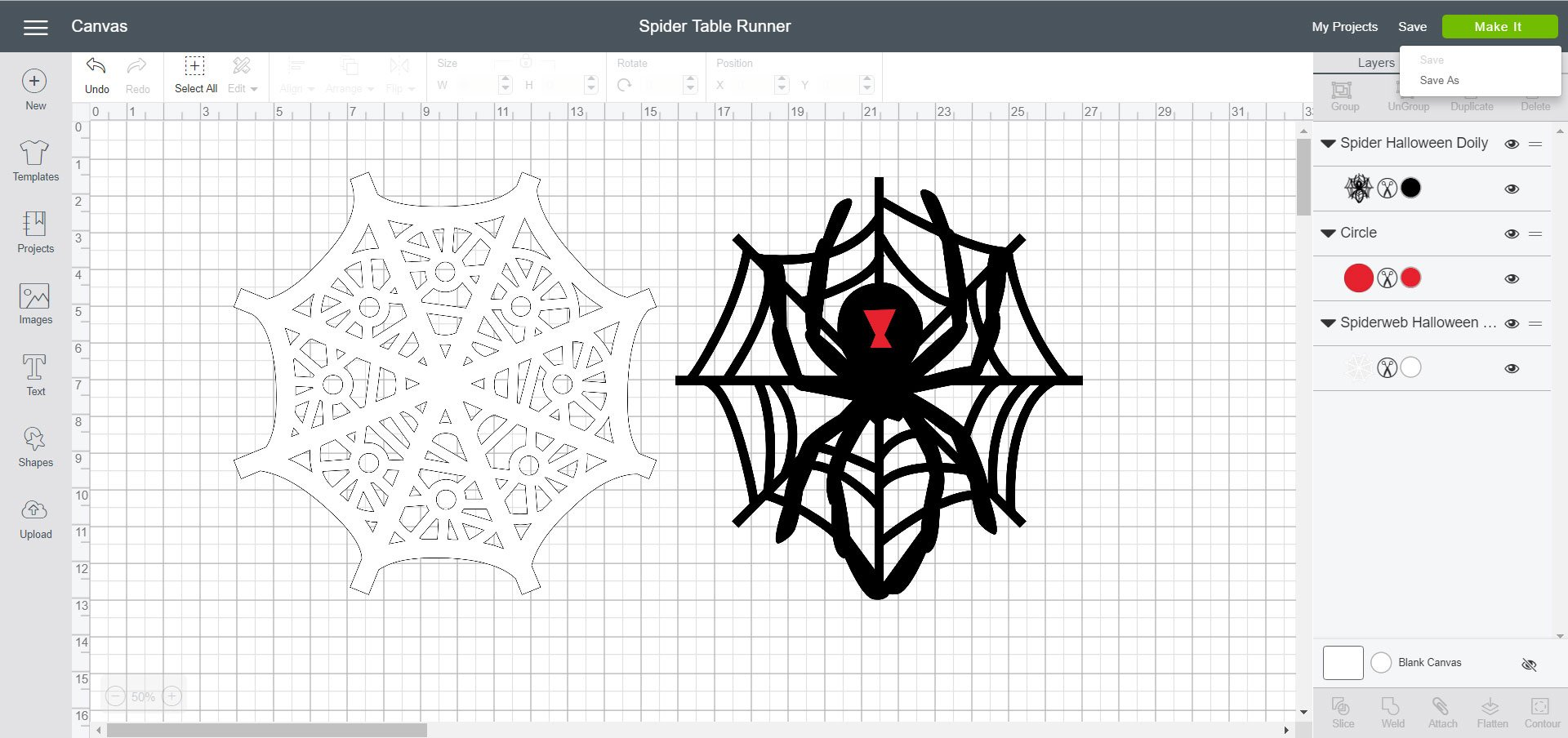 Cricut Design Space - Spider Table Runner