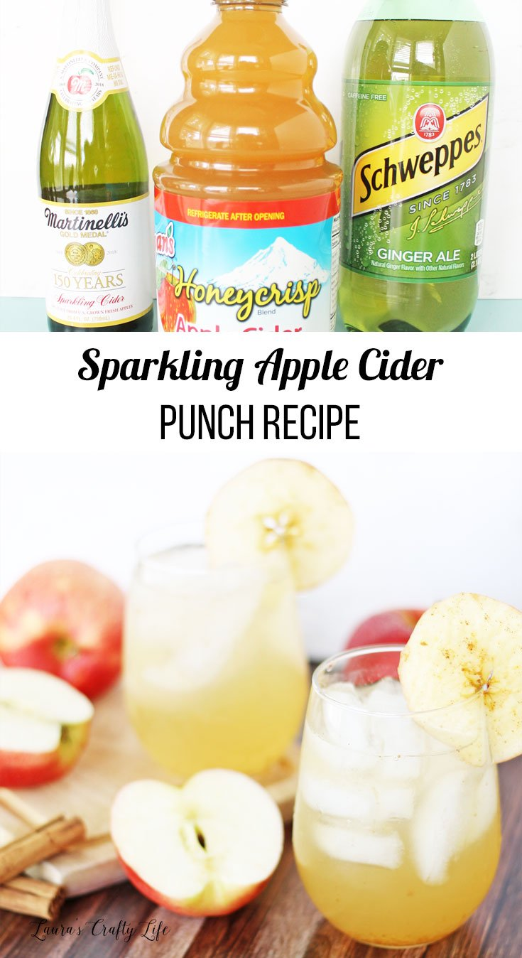 Delicious sparkling apple cider punch recipe for fall - perfect for fall celebrations, Halloween parties, and Thanksgiving dinner. #laurascraftylife #punchrecipe #applecider #fall