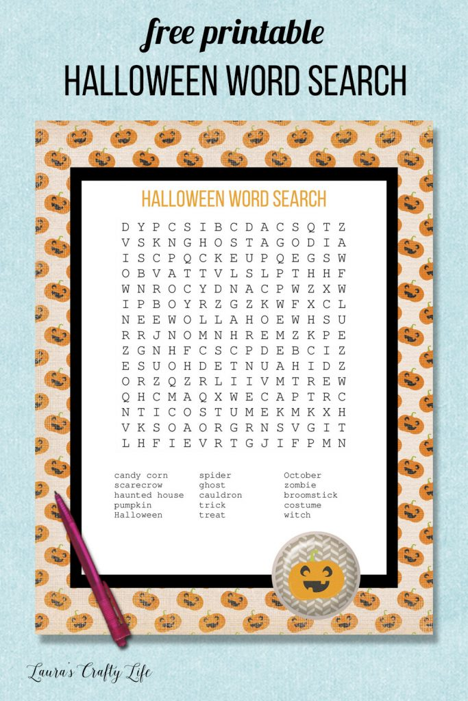 Free printable Halloween word search activity for kids. Includes answer key. #laurascraftylife #freeprintable #Halloween #wordsearch
