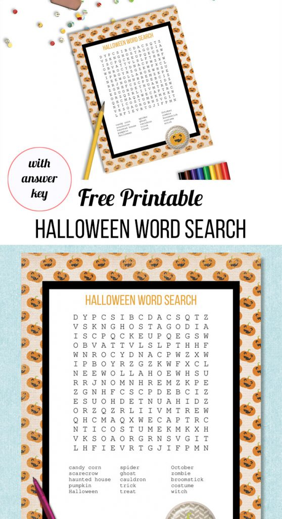 free printable Halloween word search for kids