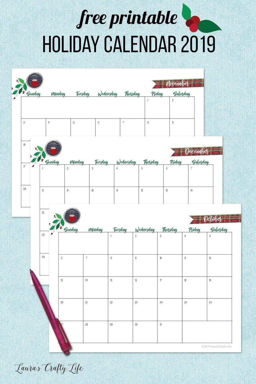free printable holiday calendar 2019