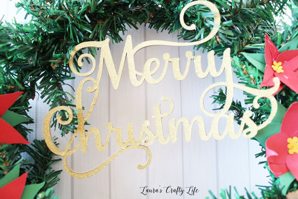Gold glitter and chipboard Merry Christmas made with Cricut Maker