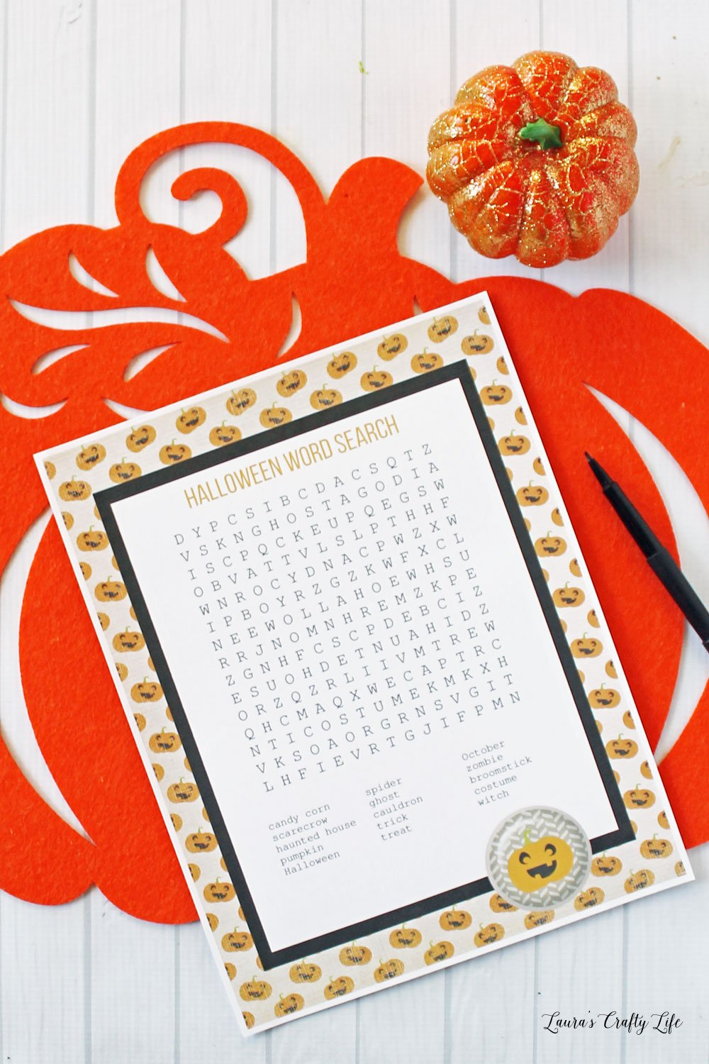Halloween word search activity page - free printable.