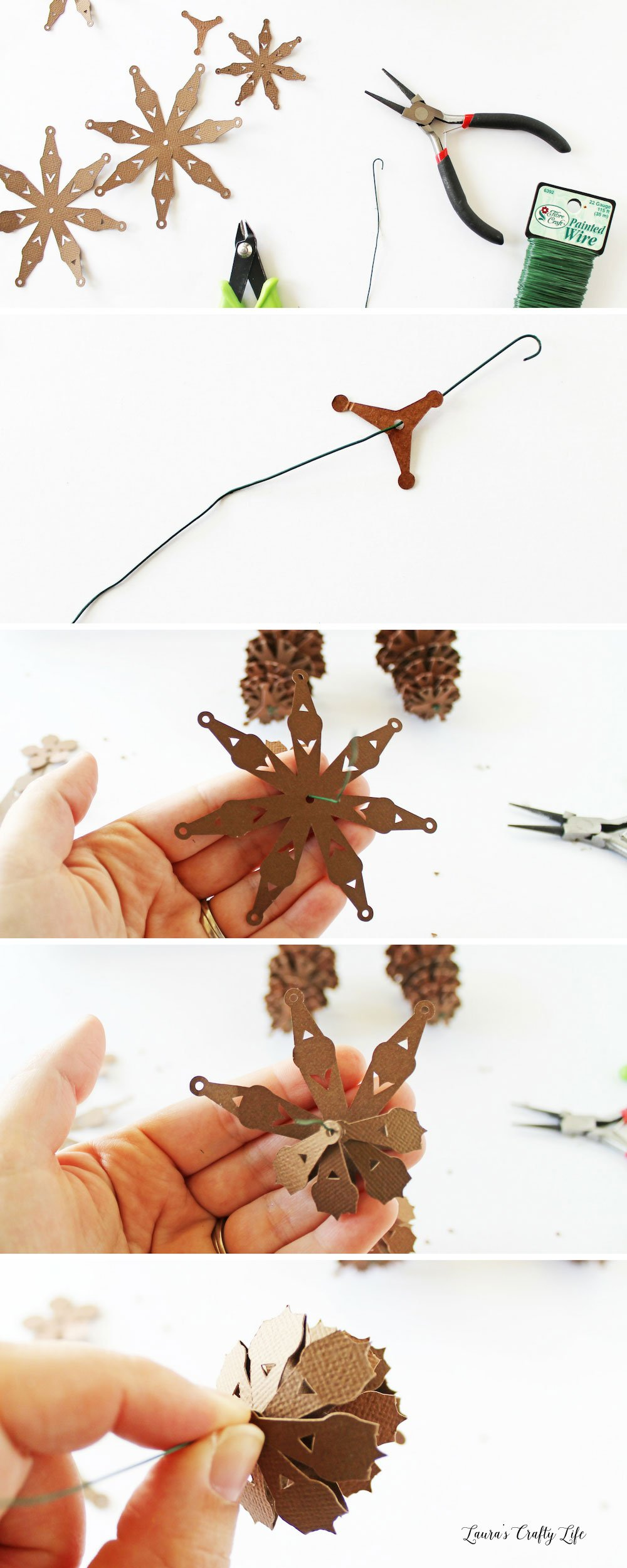 How to assemble paper pinecone