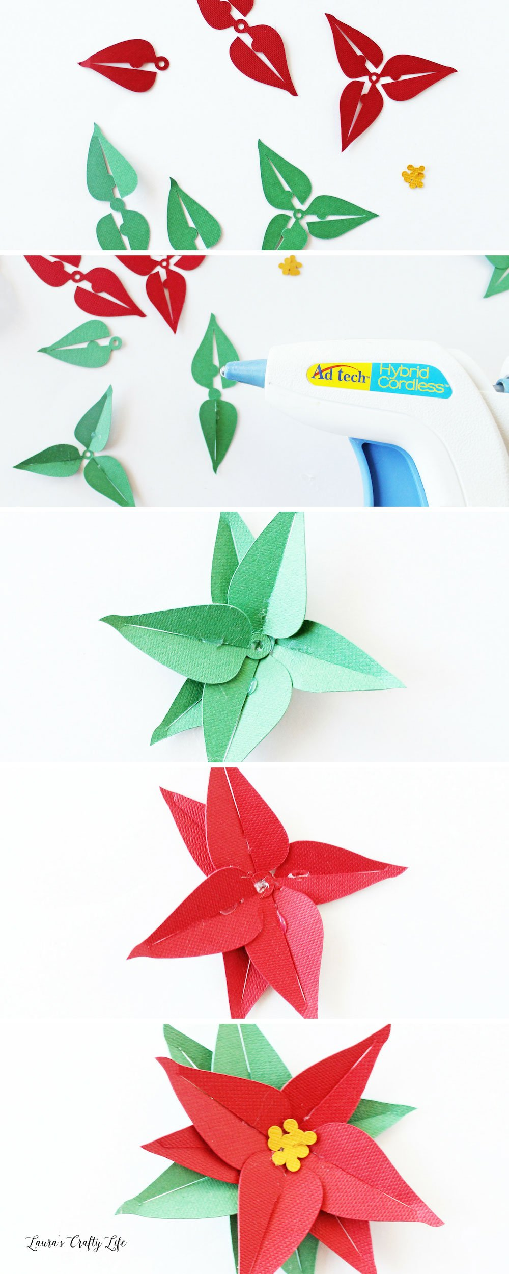 How to create a 3D paper poinsettia