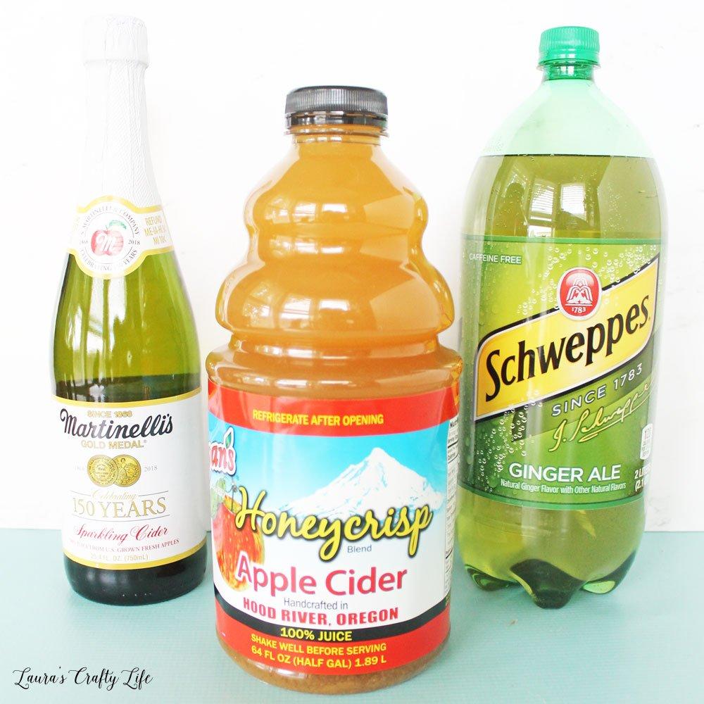 Ingredients fofr sparkling apple cider punch