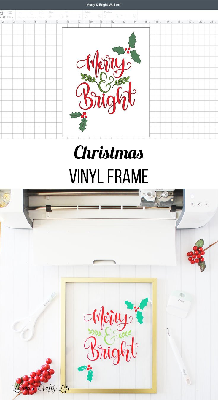 Merry & Bright Christmas vinyl frame