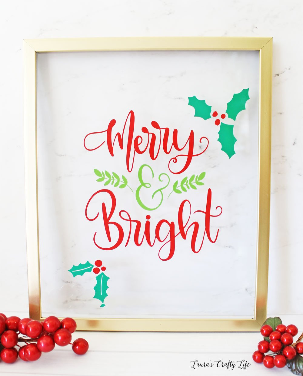 Christmas vinyl wall art made with Cricut