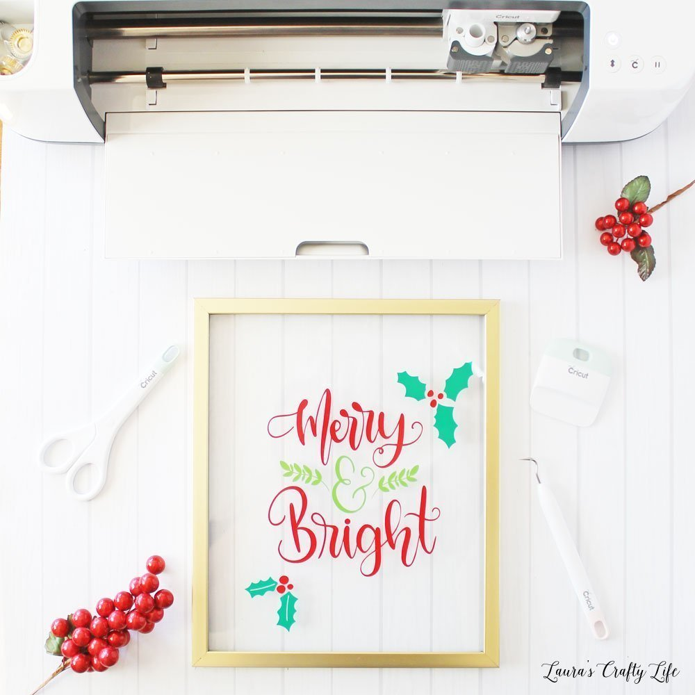 Merry and Bright vinyl Christmas frame made with Cricut Maker