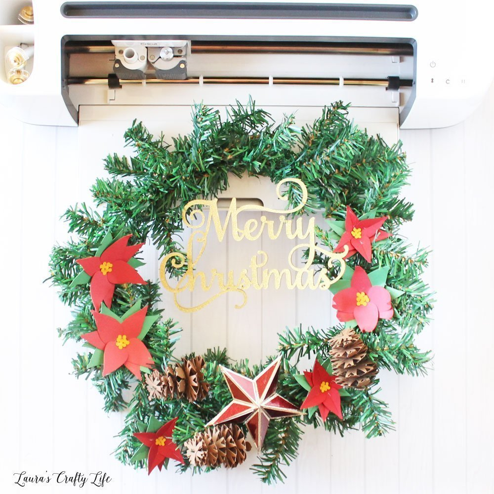 Paper flower Christmas wreath