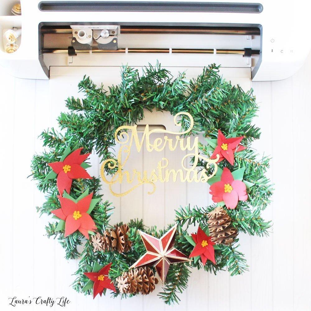 Paper Flower Christmas Wreath Cricut Maker Laura S Crafty Life