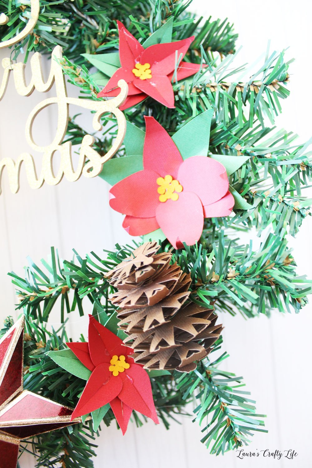 Paper poinsettias made with Cricut Maker