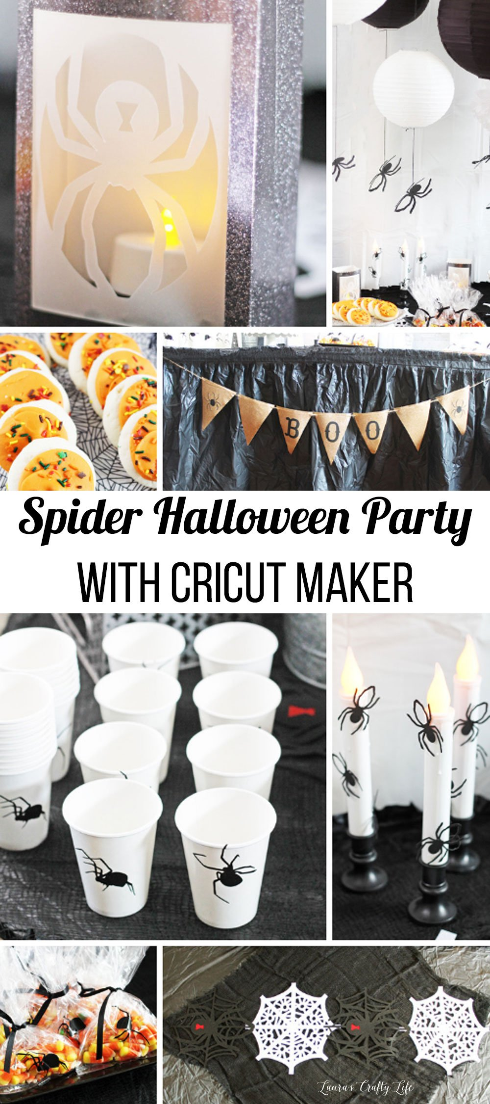 Spider Halloween Party with Cricut Maker - create seven unique spider projects for one amazing Halloween bash! #laurascraftylife #Halloween #Cricut #spider