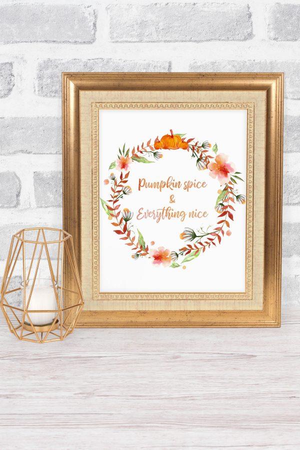 pumpkin spice gold frame mockup