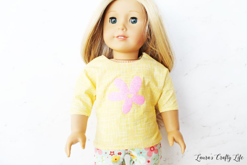Long Sleeve Doll Top made with Cricut Maker