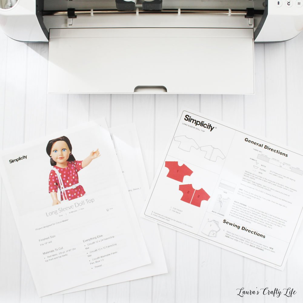 Printed patterns for Cricut Maker doll clothes