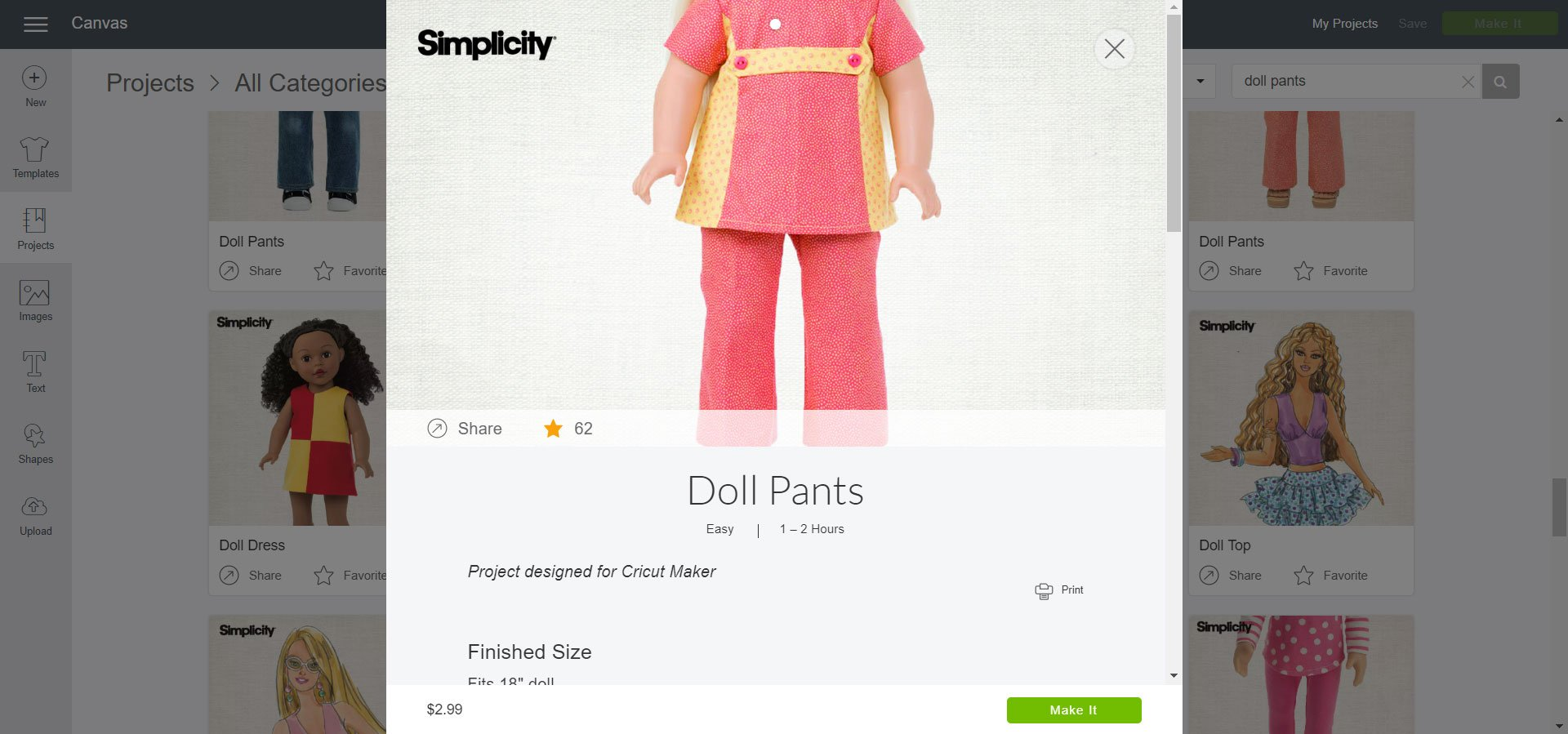 Simplicity Doll Pants Cricut Design Space