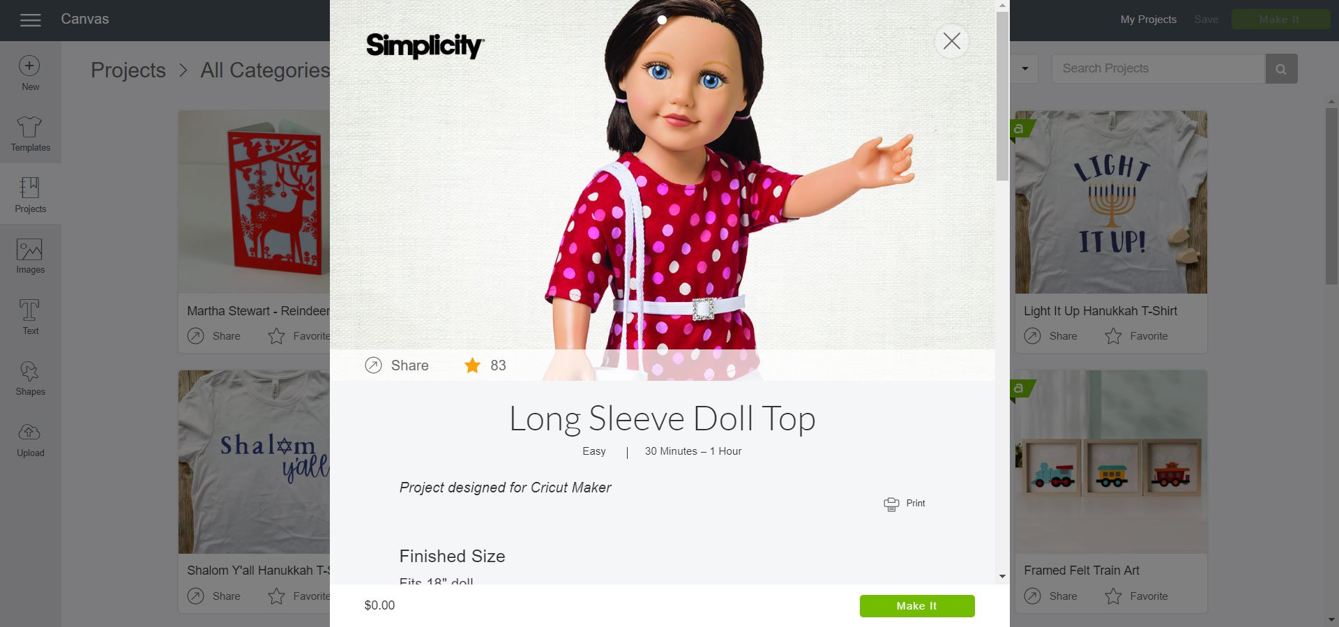 Simplicity Long Sleeve Doll Top Cricut Design Space
