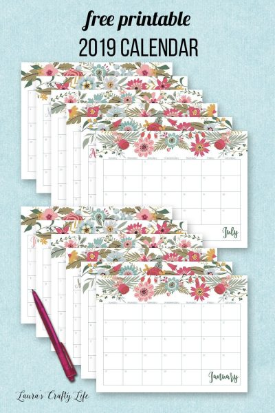 2019 Calendar. Download and print this FREE 2019 monthly calendar. Coordinates perfectly with the other home management binder printables.