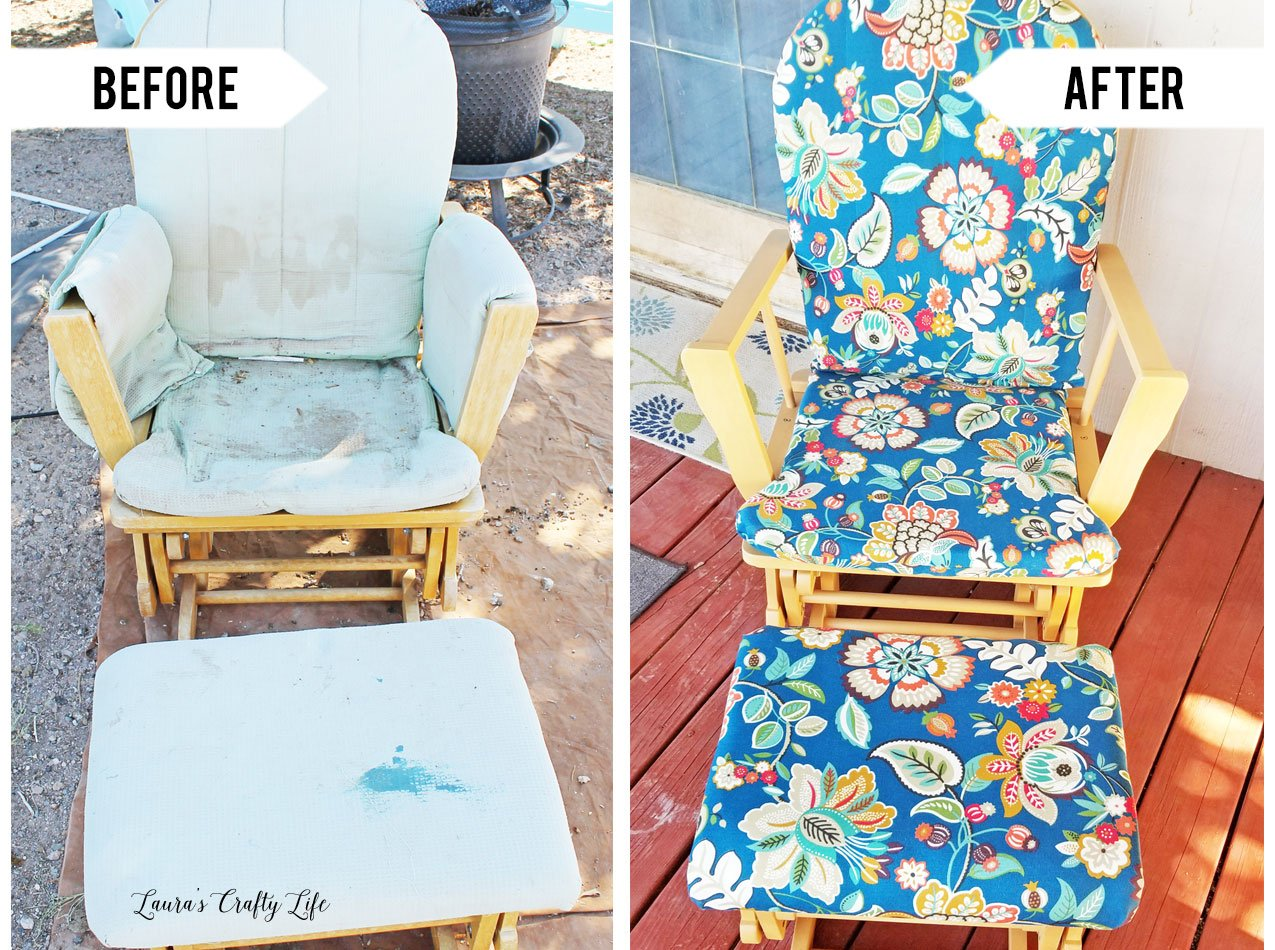 Before and after - how to reupholster and refinish a wooden glider