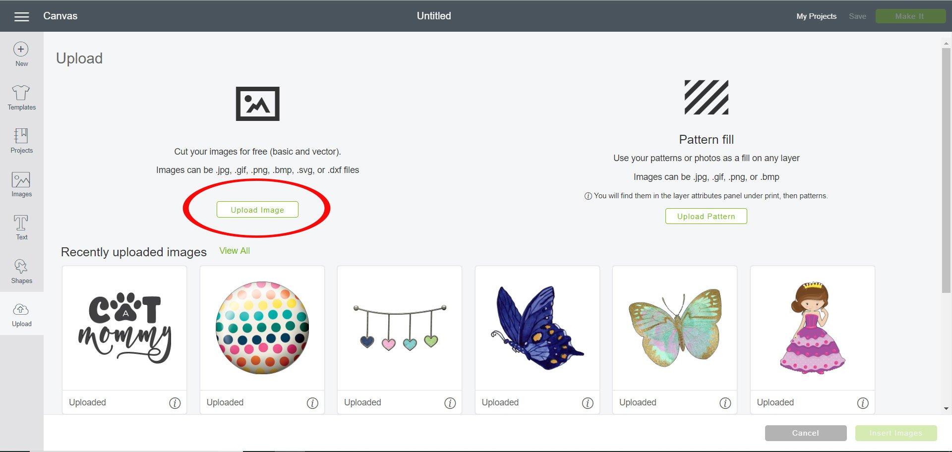 Click upload image in Cricut Design Space