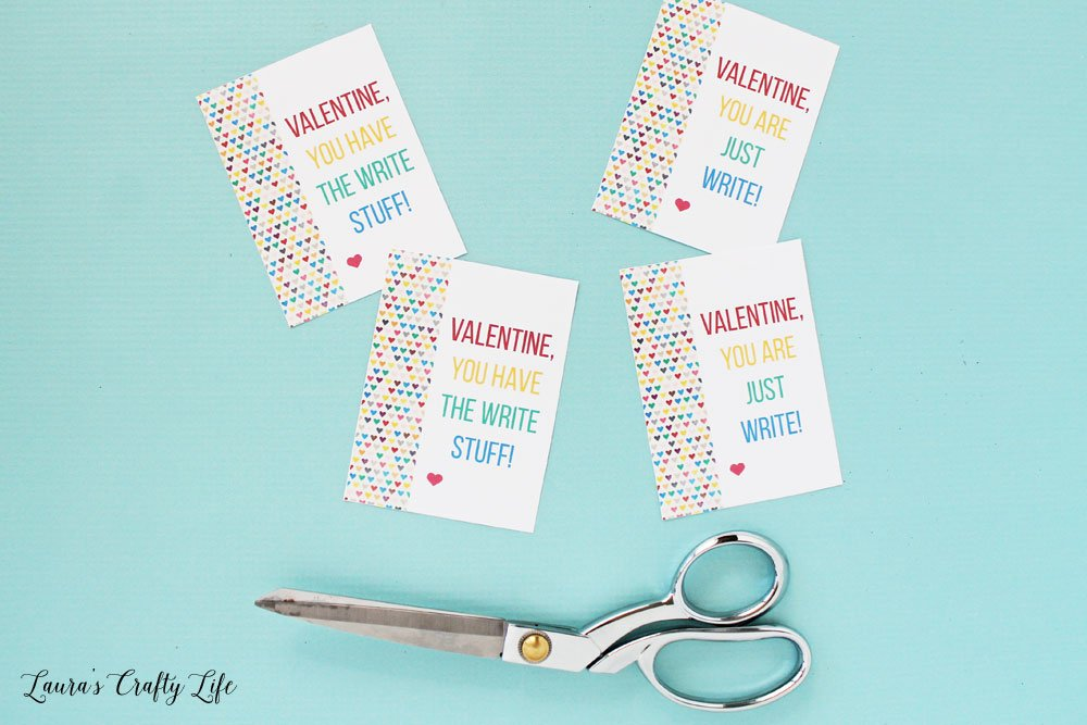 Cut out free printable Valentine cards