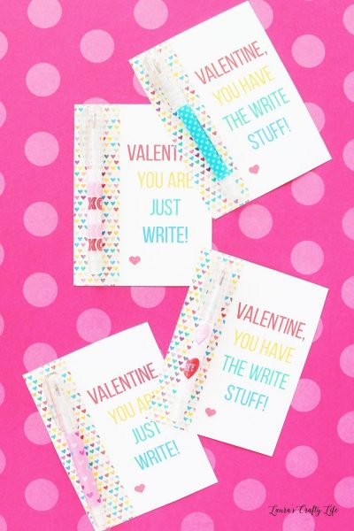 Free printable Valentine cards - attach a pen or pencil favor