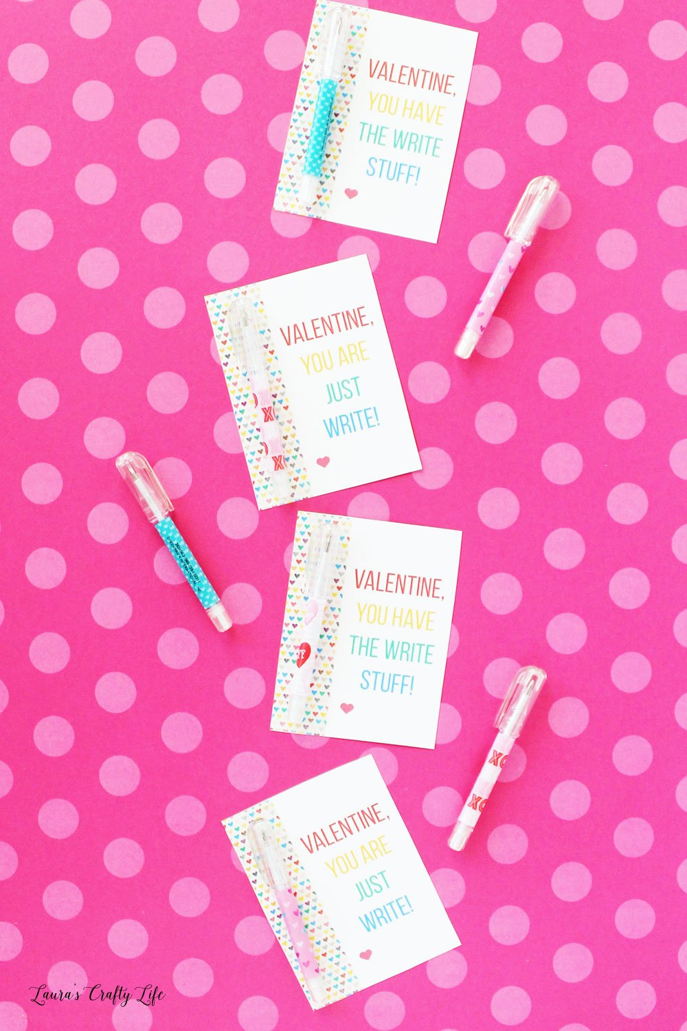 Free printable Valentine cards you can use with a pen or pencil favor