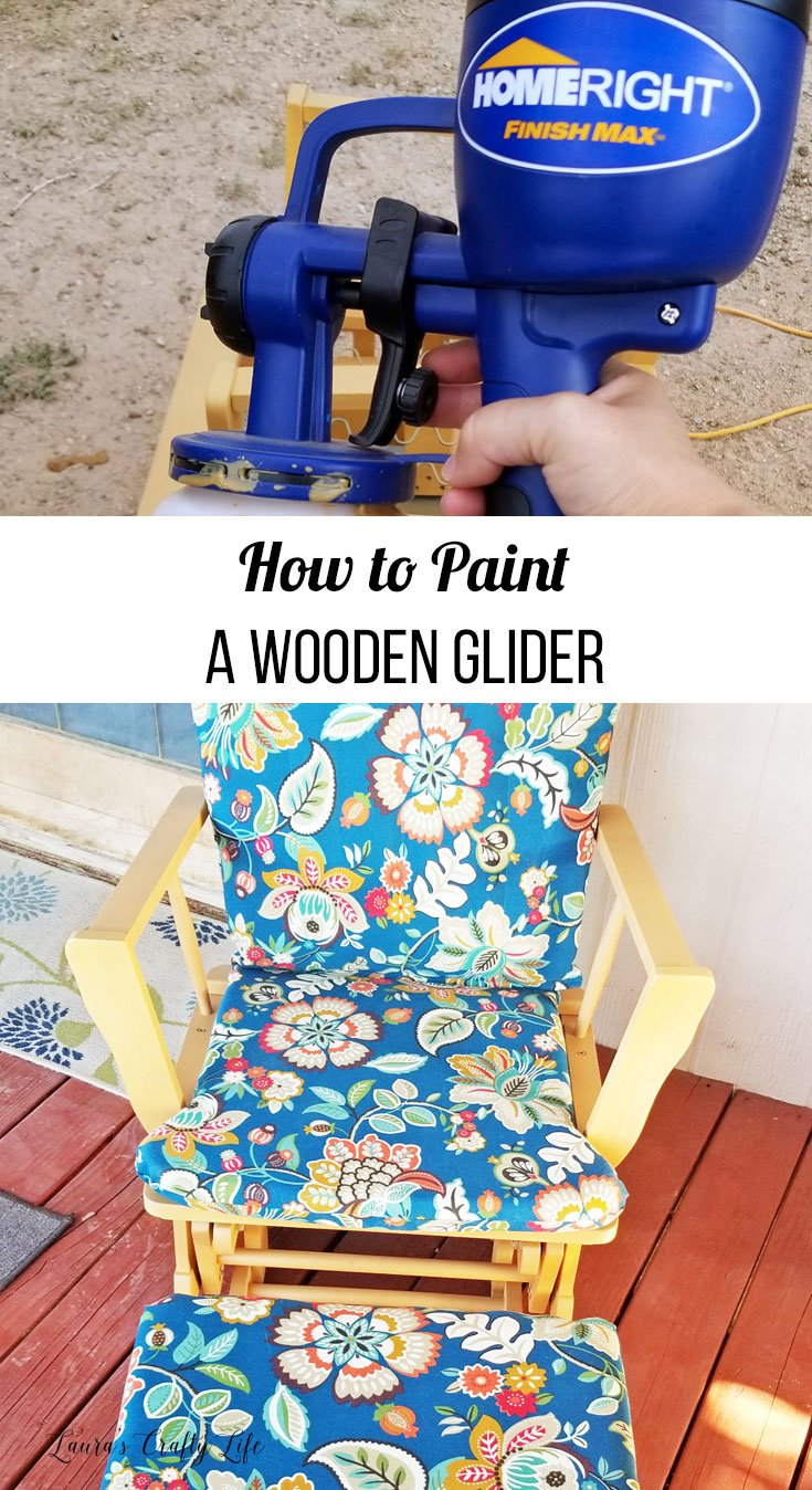 How to Paint a Wooden Glider. Use the HomeRight Finish Max Sprayer to easily paint your wooden glider to make it look like new again! #DIY #laurascraftylife #refinish #upcycle #glider