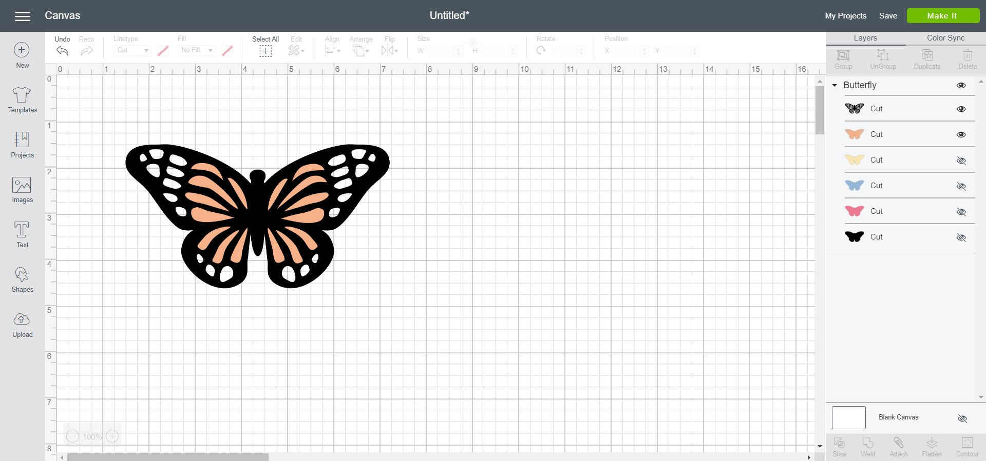 Butterfly image in Cricut Design Space