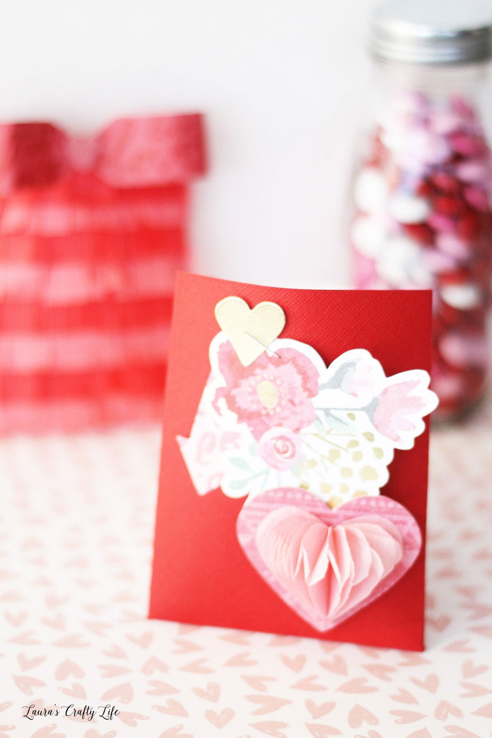 Create a pretty Valentines favor envelope using the 123 punch board
