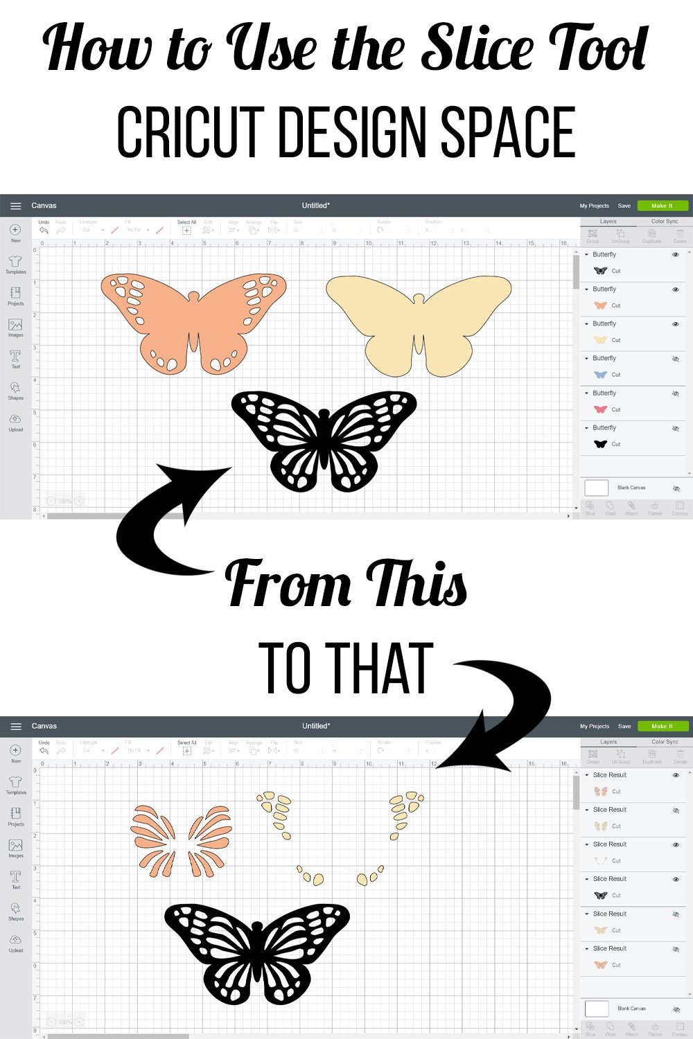 How to use the slice tool in Cricut Design Space. Perfect for creating a layered look without the layers! #cricut #laurascraftylife #cricutdesignspace