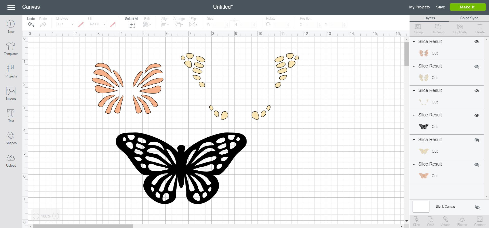 Sliced butterfly design to use with layered iron-on