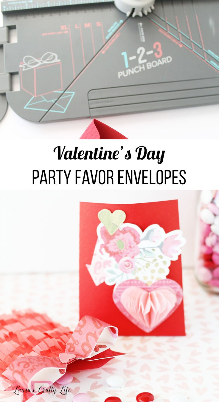 Use the We R Memory Keepers 1-2-3 punch board to create beautiful paper Valentine's Day favors #laurascraftylife #wermemorykeepers #valentinesday #favors