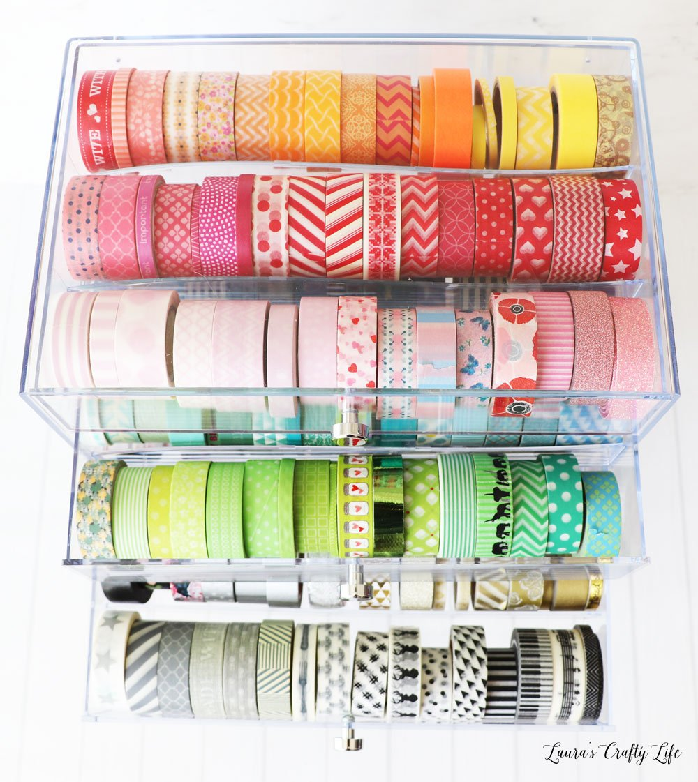 Deflecto 3 drawer organizer filled with washi tape