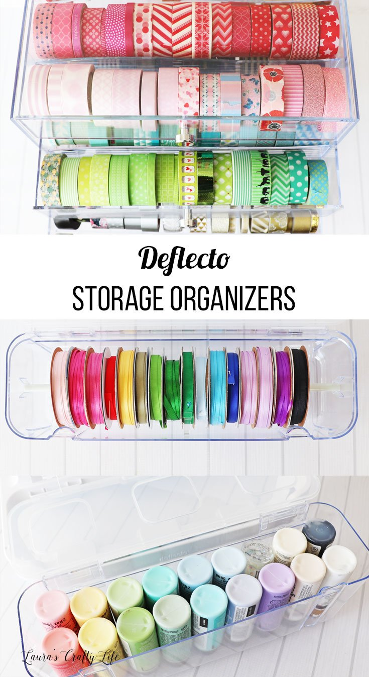 Deflecto storage organizers with text overlay