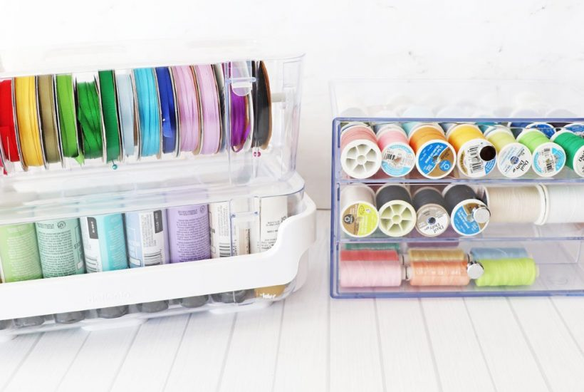 Deflecto caddy organizer and ribbon dispenser and washi storage cube