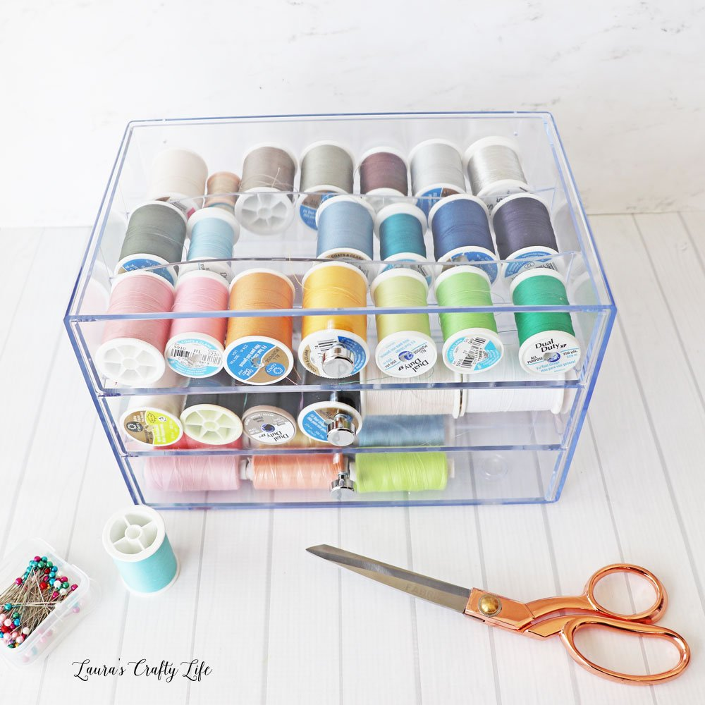 Deflecto washi storage cube filled with thread