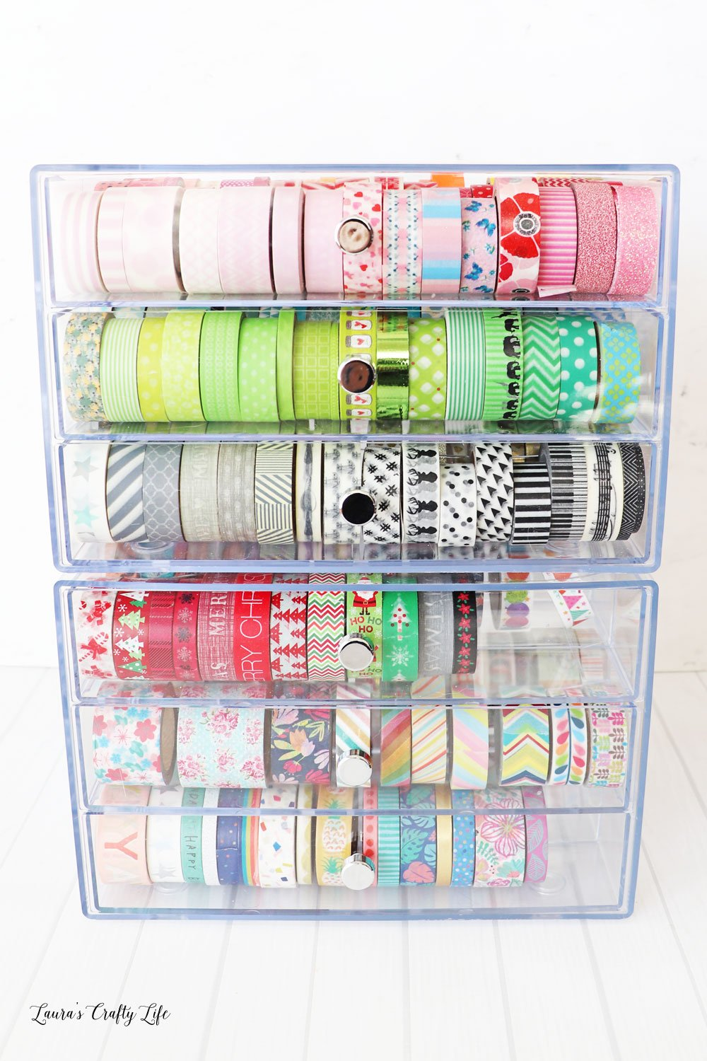 Deflecto washi storage cube filled with washi
