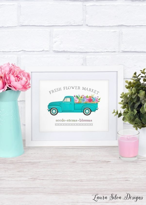fresh flower market printable mockup white frame