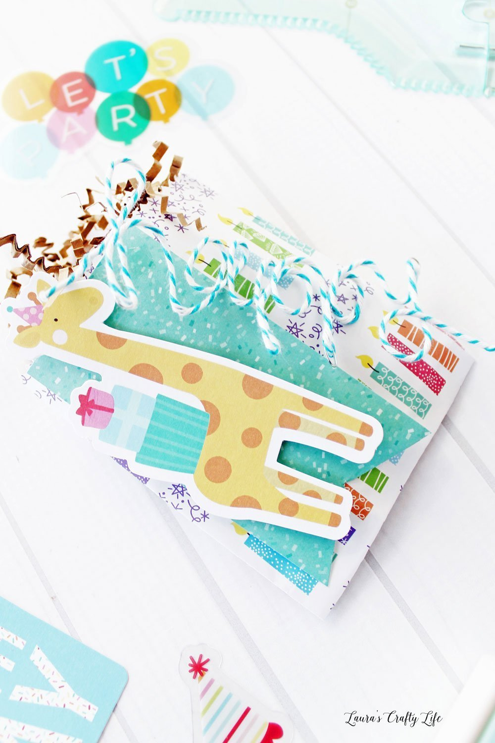 Happy giraffe birthday treat bag