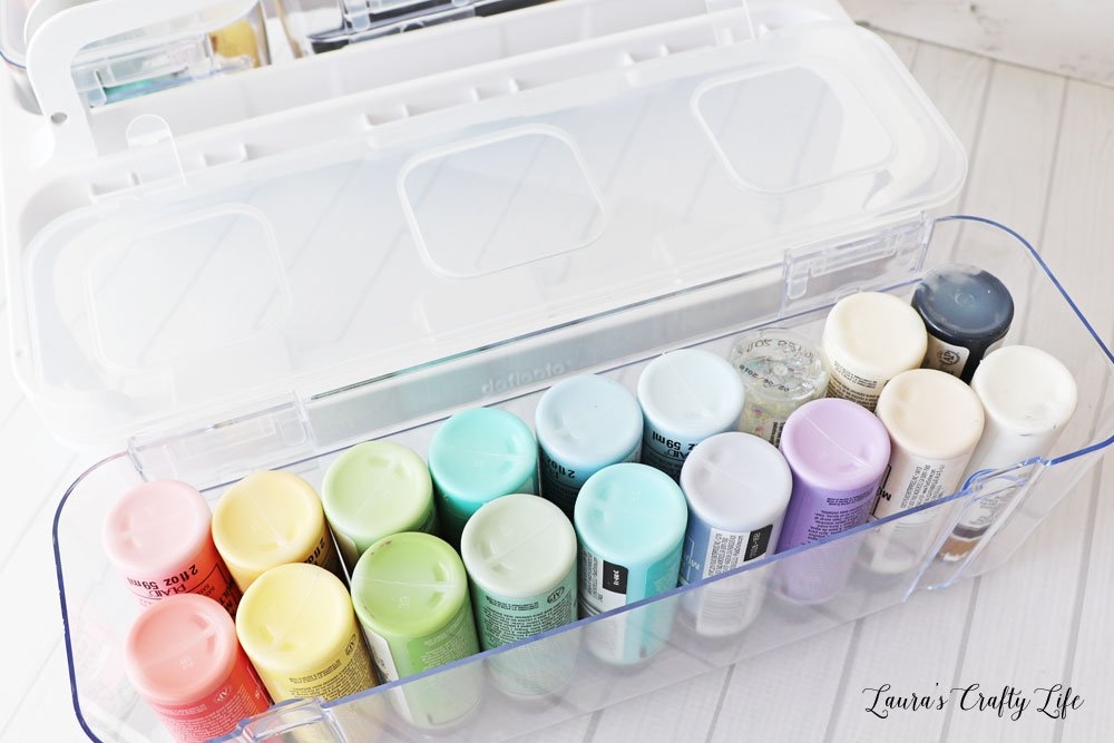 Paint stored in Deflecto caddy organizer