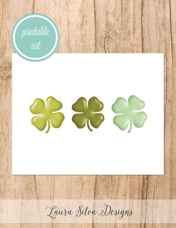 Shamrocks Printable Art. Top o' the morning to you! This lucky printable art piece is the perfect simple artwork to display for St. Patrick's Day. #stpatricksday #printableart #laurasilvadesigns