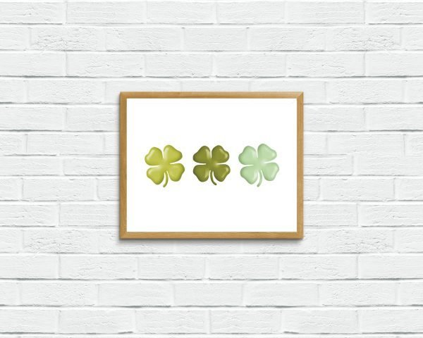 Shamrocks Printable Art. Top o' the morning to you! This lucky printable art piece is the perfect simple artwork to display for St. Patrick's Day.